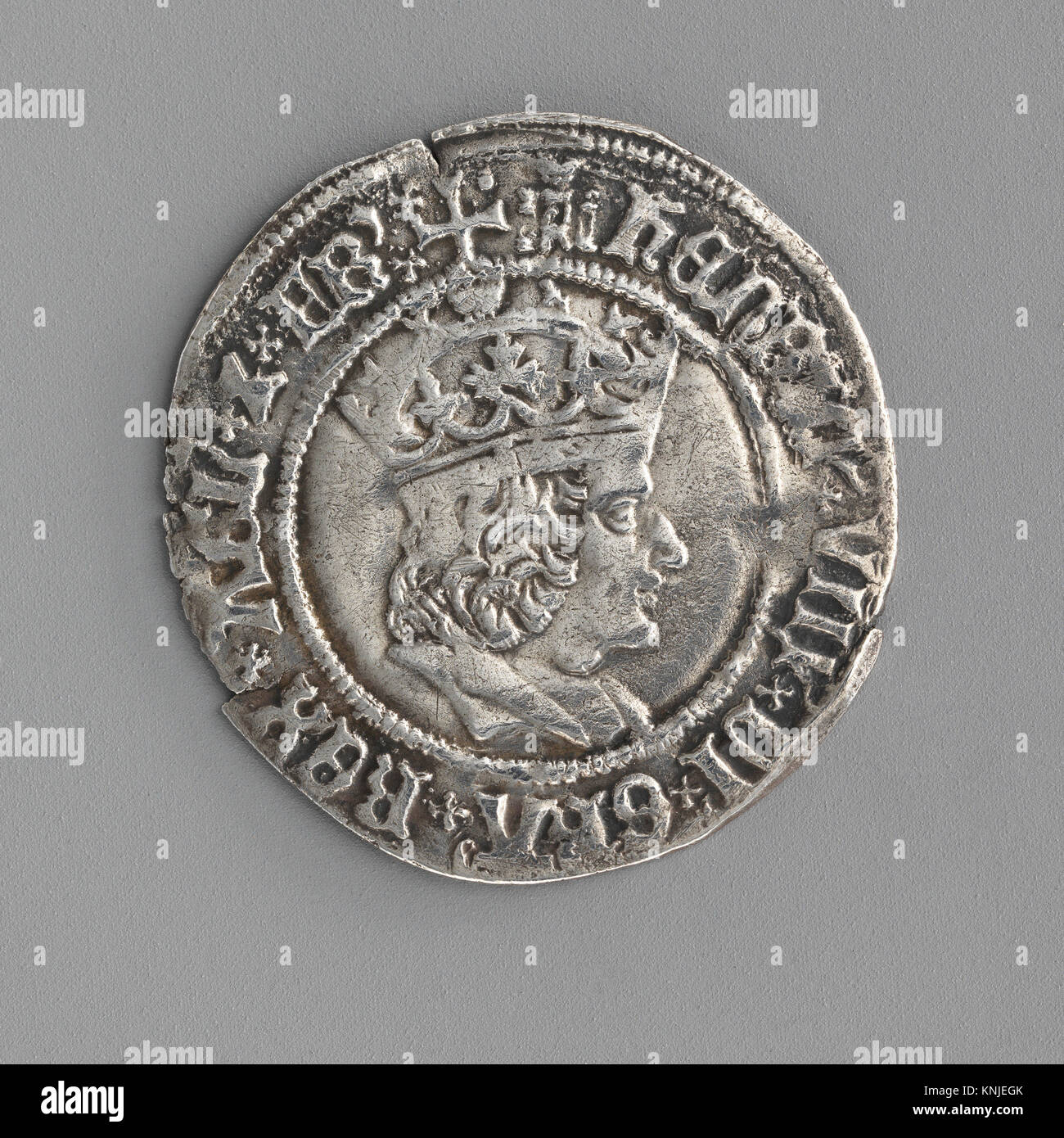 Groat of Henry VIII (first coinage). Date: 1509-26; Culture: British; Medium: Silver; Dimensions: Diameter: 15/16 - Stock Image