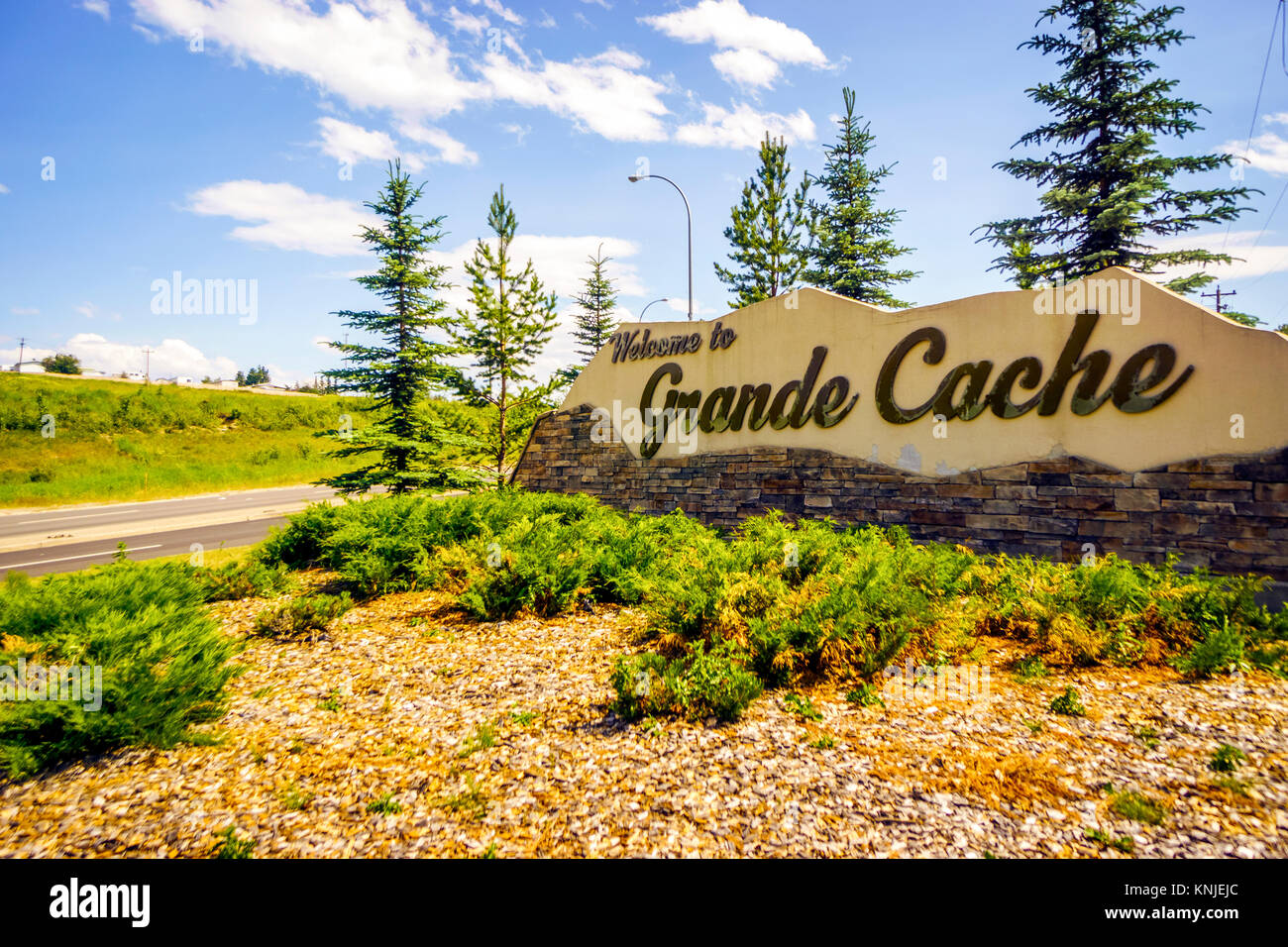 Welcome to Grande Cache, welcoming sign in Alberta, Canada - Stock Image