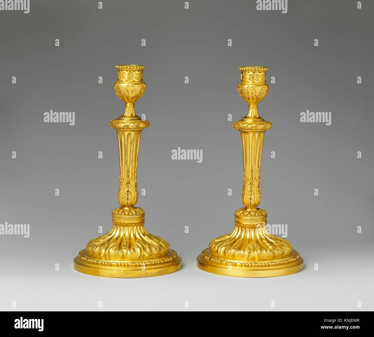 Pair of candlesticks. Date: ca. 1770-75; Culture: French; Medium: Gilt bronze; Dimensions: Overall (confirmed): Stock Photo