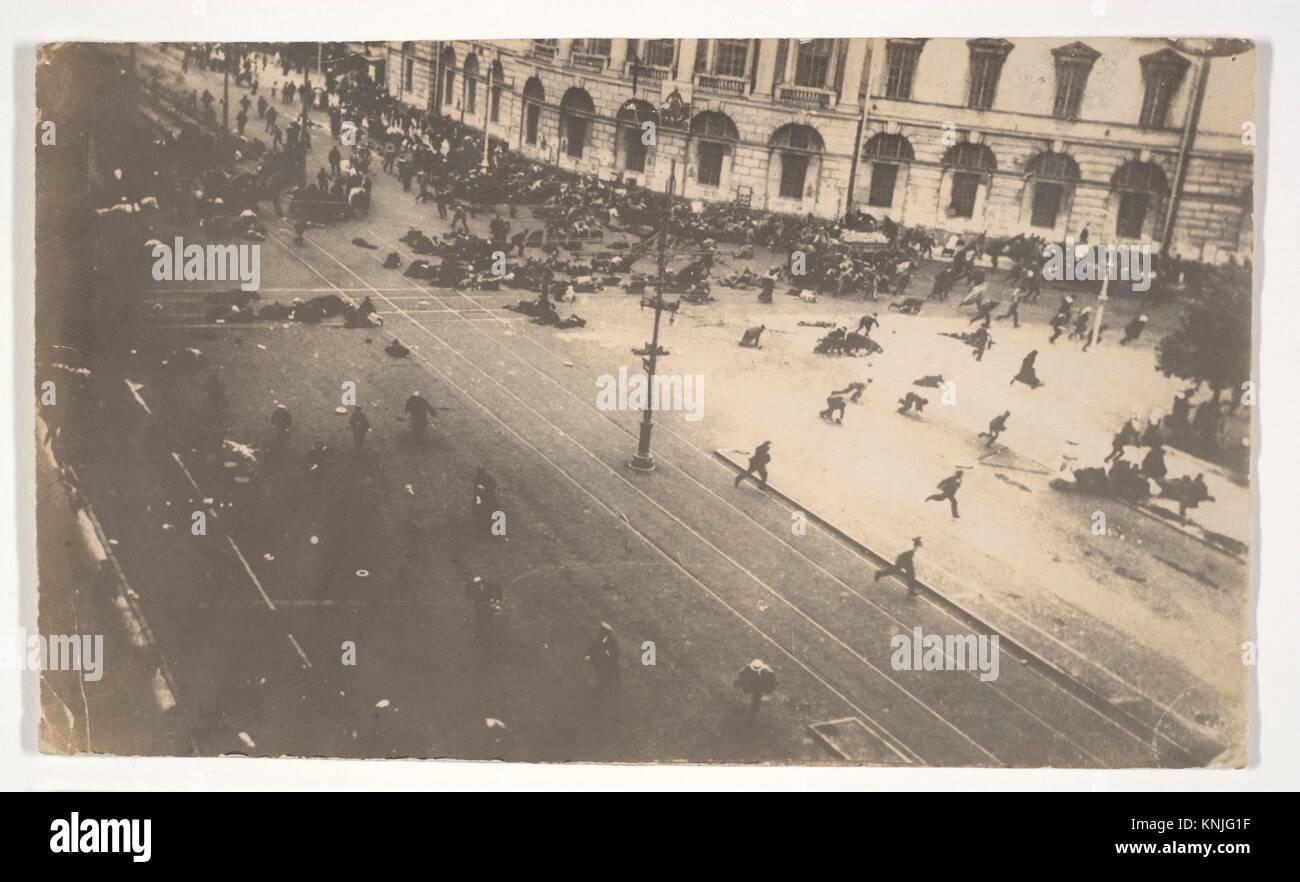 [Government Troops Firing on Demonstrators, Corner of Nevsky Prospect and Sadovaya Street, St. Petersburg, Russia]. - Stock Image