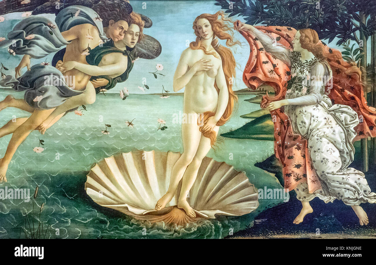 "Sandro Botticelli ""The Birth of Venus"". A copy of the fresco from the Sistine Chapel. Mall Dream Town 2. Stock Photo"