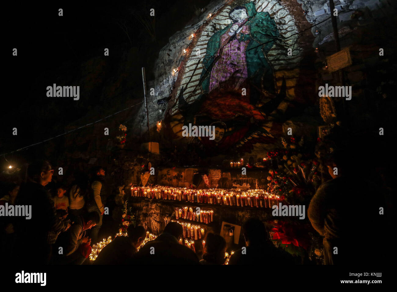 Pilgrimage in honor of the Virgin of Guadalupe or Virgin Mary, also called the Patroness of Mexico. According to Stock Photo
