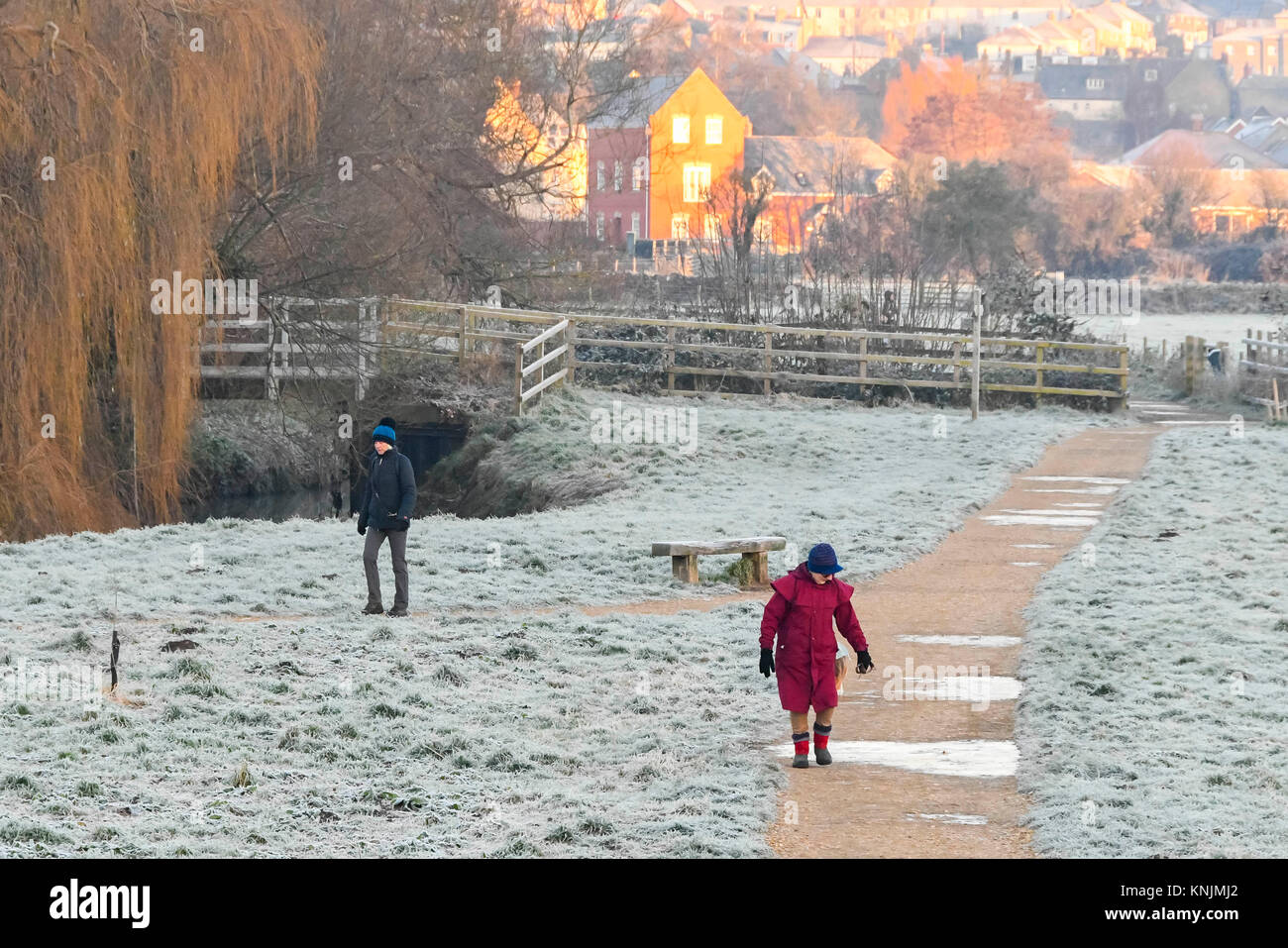 Bridport, Dorset, UK.  12th December 2017.  UK Weather.  Dog walkers strolling through a frost covered Askers Meadow - Stock Image