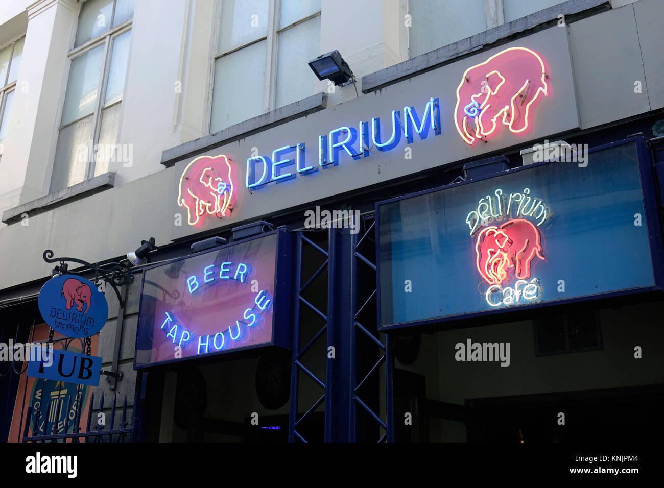 """The outside of """"Délirium Café"""" at Impasse de la Fidélité 4 in the old town of the Belgian capital Brussels, pictured Stock Photo"""