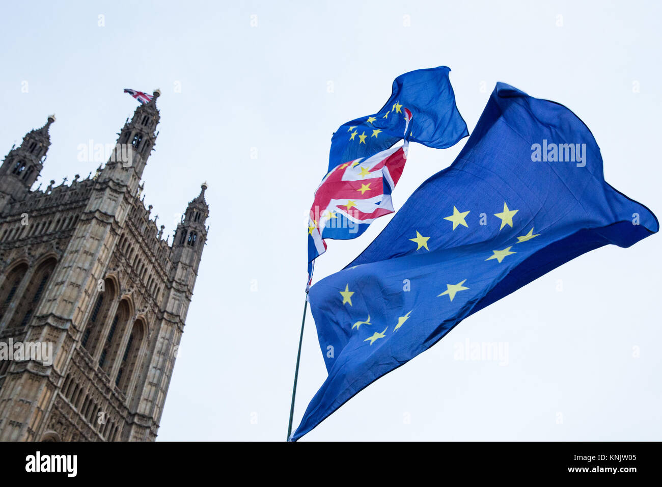 London, UK. 12th Dec, 2017. Anti-Brexit protesters wave European Union flags outside Parliament. Credit: Mark Kerrison/Alamy - Stock Image