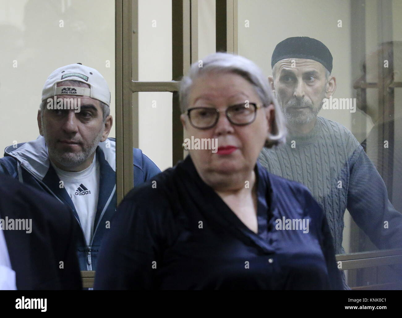Rostov On Don, Russia. 13th Dec, 2017. Ramzan Belyalov (L back) and Magomed Mazdayev (R back), charged with taking - Stock Image