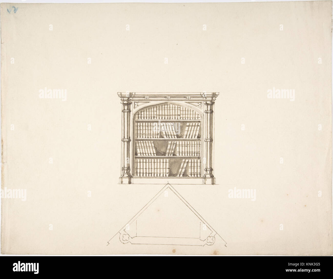 Design For A Gothic Style Corner Book Cabinet Elevation And Plan MET DP807313 386919