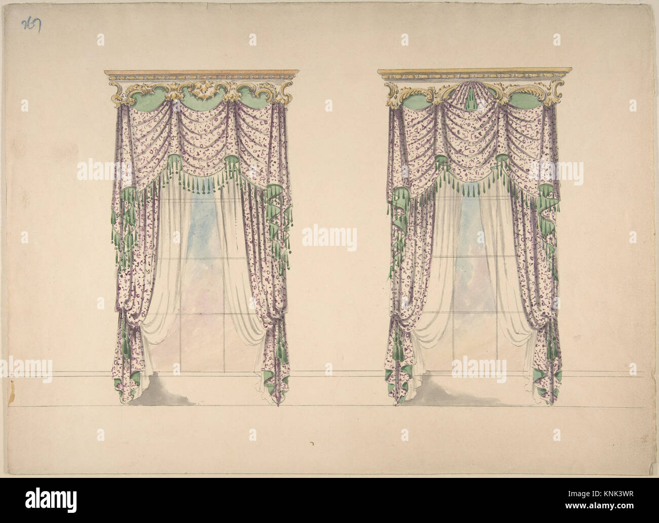 design pediment artist curtains century british anonymous pink gold date curtain for early with a photo stock white inner and