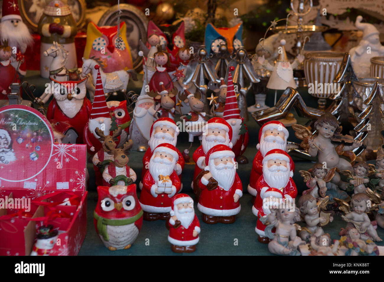 The Christmas Clause.A Stall Sells Little Figurines Of Santa Clause And Angels