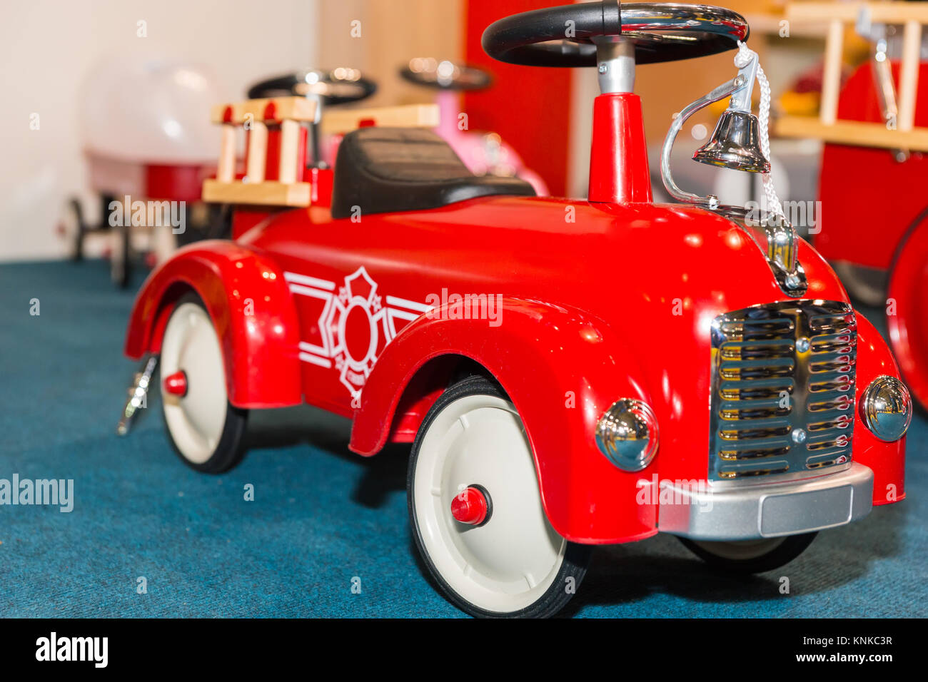 Close up of toy fire truck in a toy-shop Stock Photo