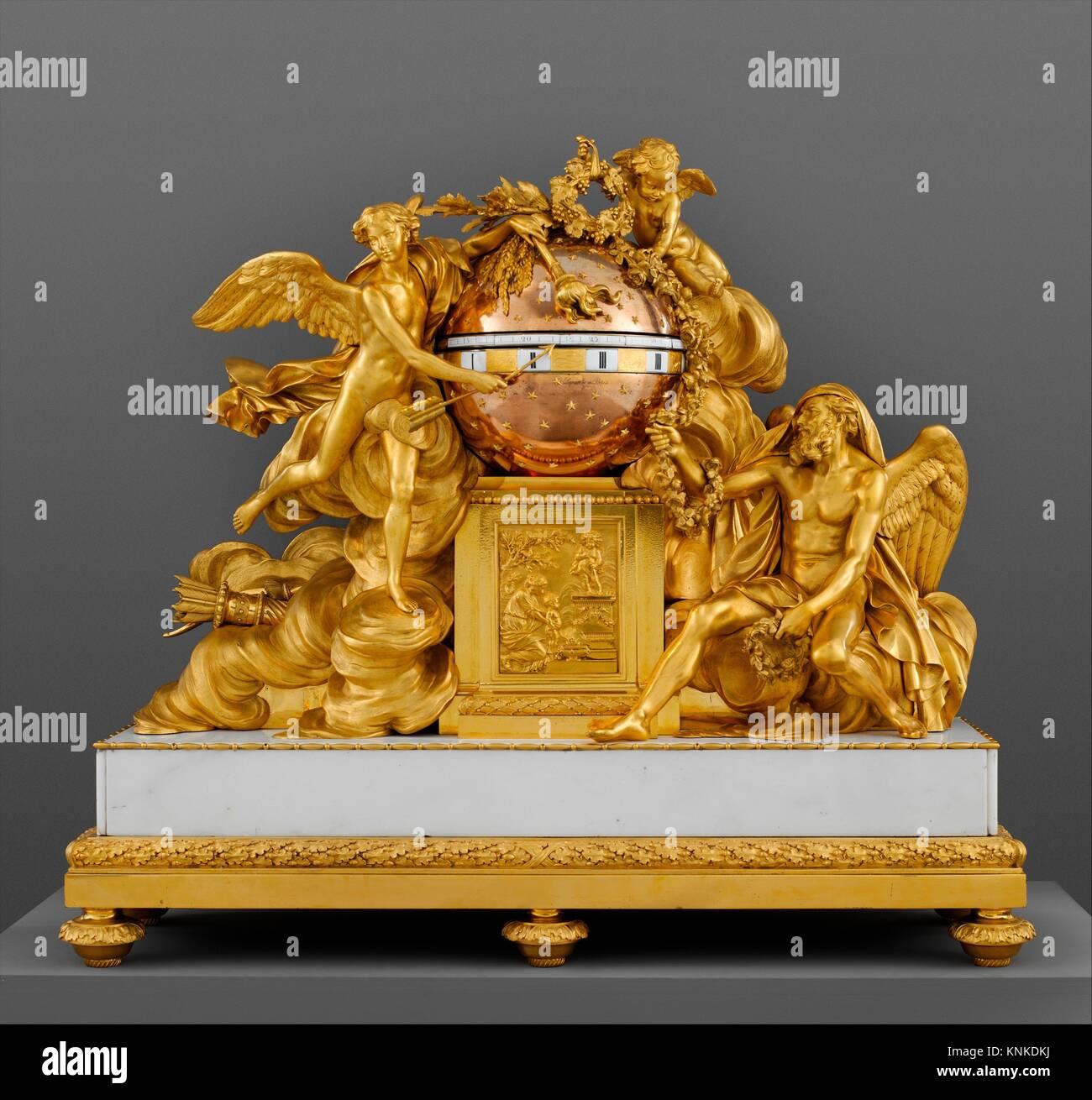 Mantel clock. Maker: Clockmaker: Jean-Baptiste Lepaute (French, 1727-1802); Modeler: Figures modeled by Augustin - Stock Image