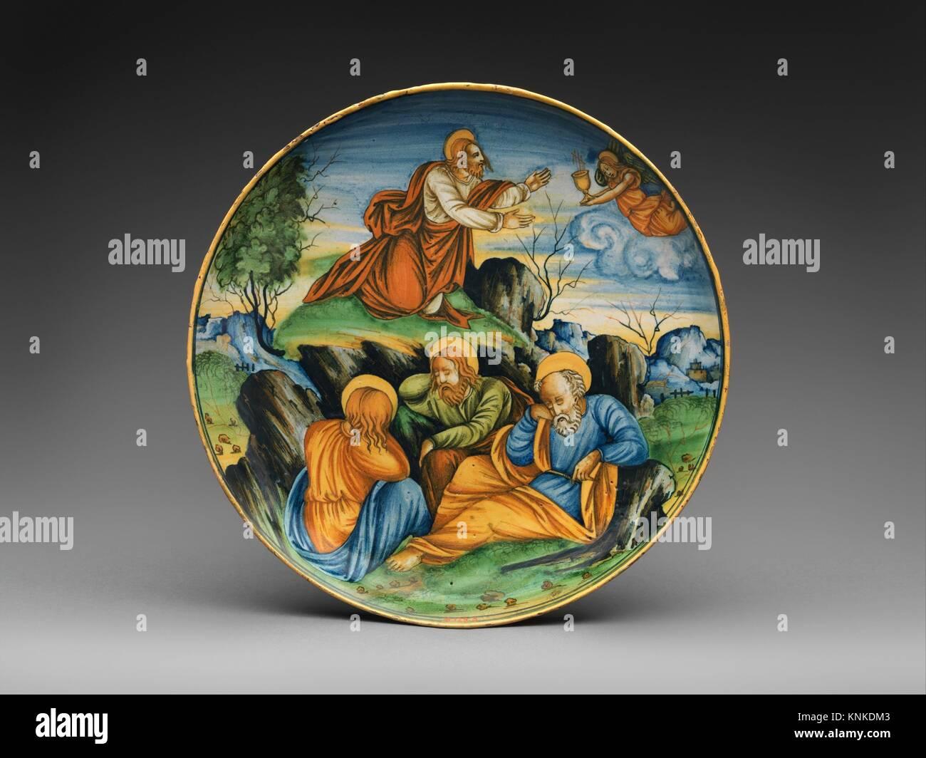 Shallow bowl with The Agony in the Garden. Artist: Baldassare Manara (Italian, Faenza, active first half 16th century) - Stock Image