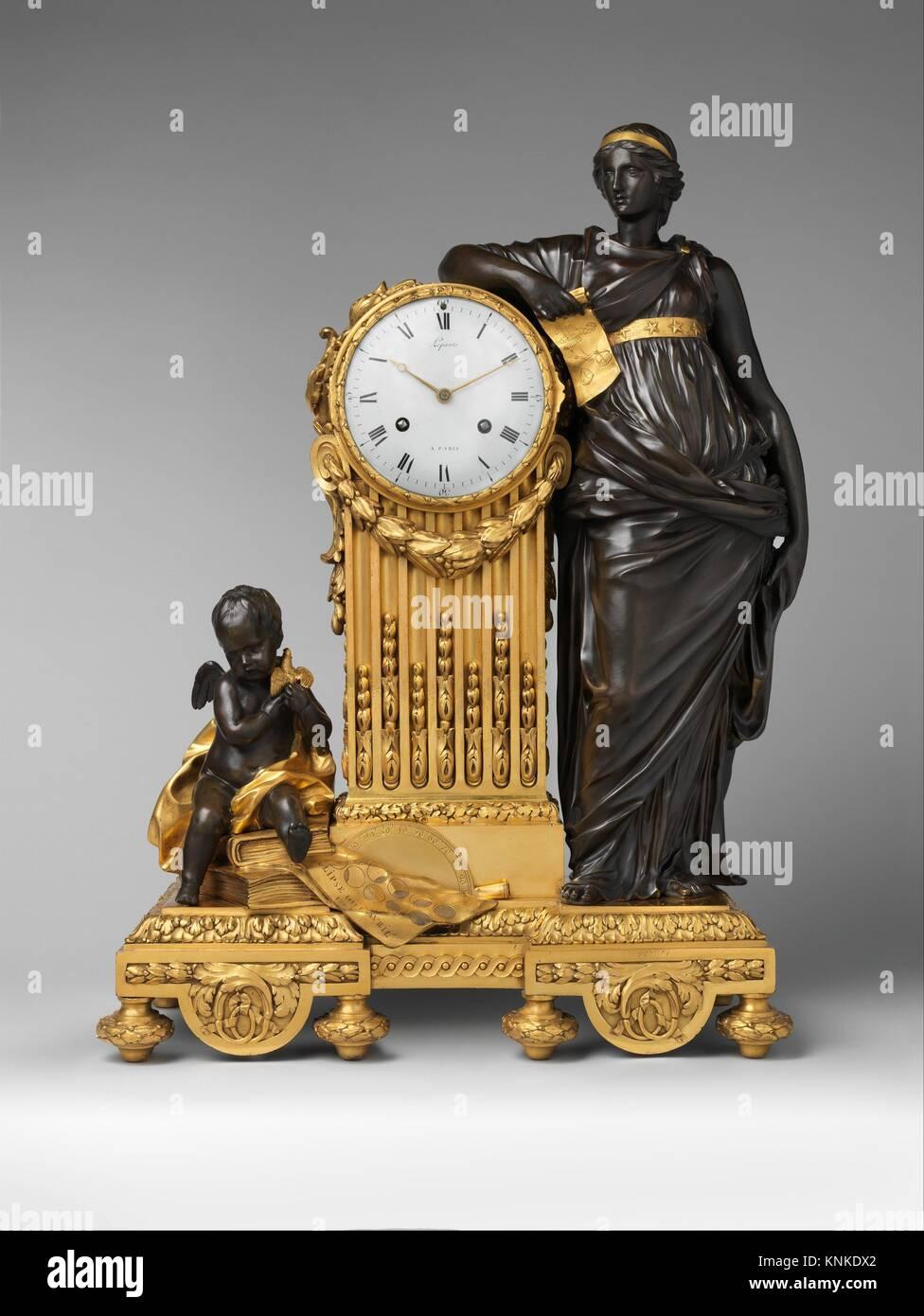 Mantel clock (Pendule Uranie). Maker: Clockmaker: Jean-André Lepaute (French, 1720-1789); Maker: Clockmaker: - Stock Image
