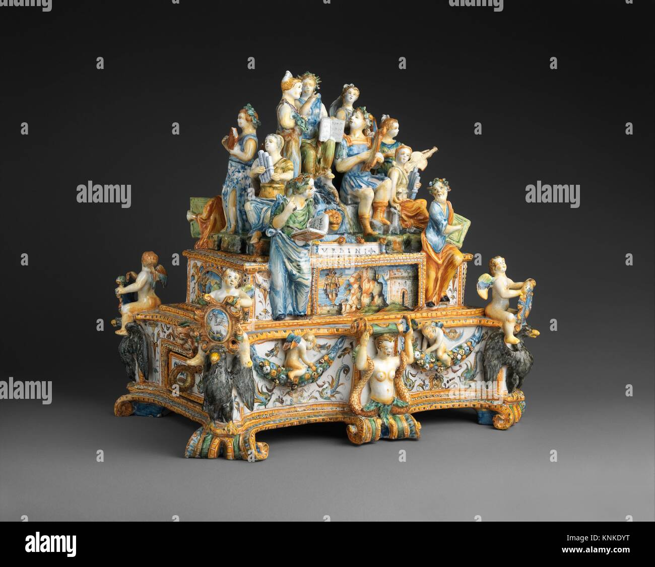 Inkstand with Apollo and the Muses. Maker: Workshop of the Patanazzi family (Italian, active ca. 1580-1620); Maker: - Stock Image