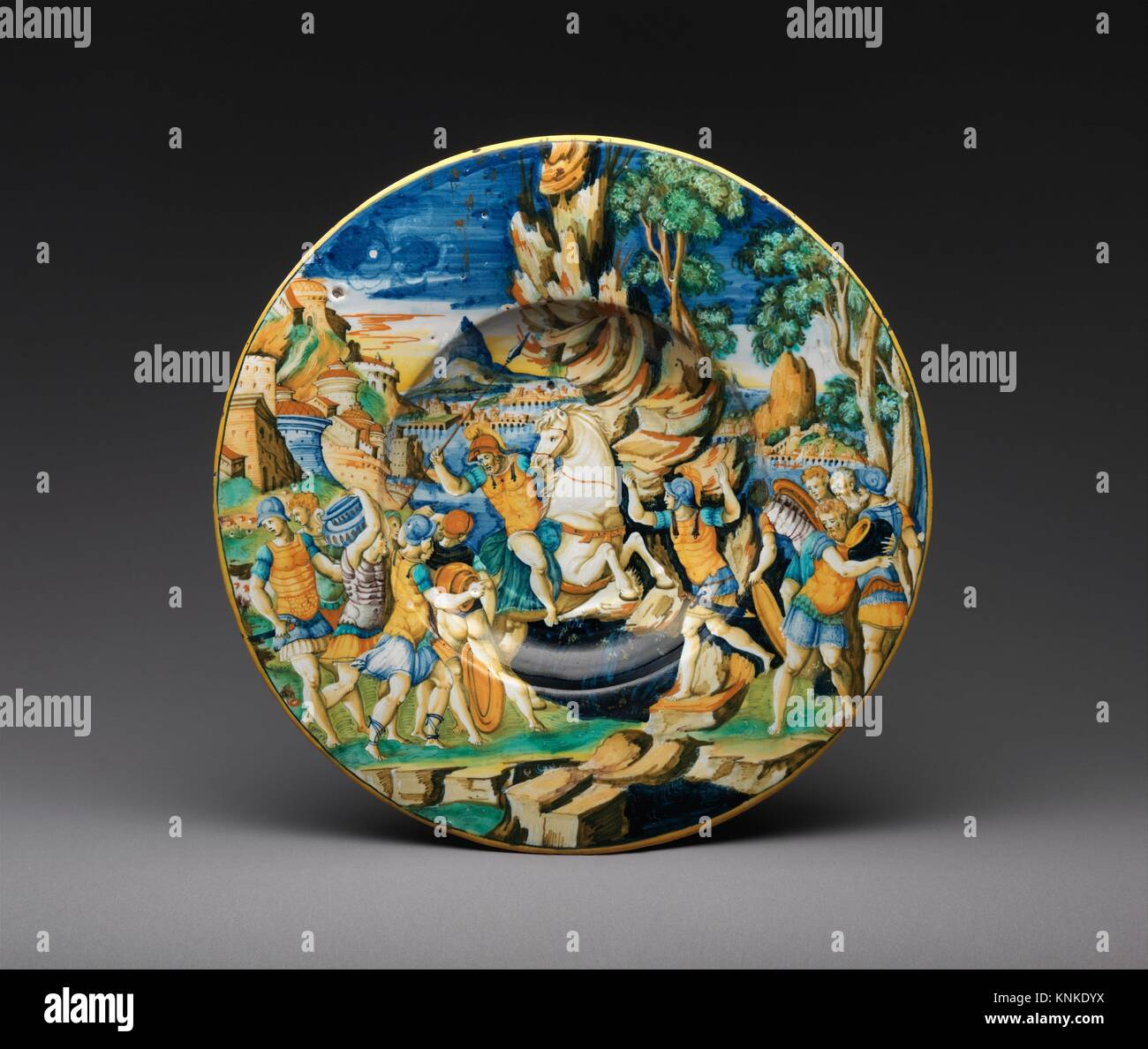 Dish with The Heroism of Marcus Curtius. Maker: Workshop of Guido de Merlino (Italian, active ca. 1523-58); Date: - Stock Image