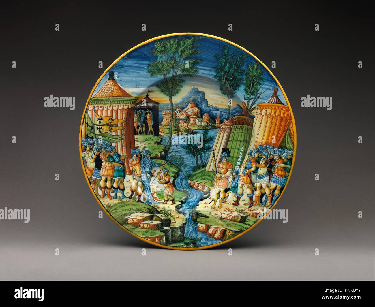 Dish or plate with Hannibal Encountering Roman Troops in Italy. Artist: Probably workshop of Guido Durantino (Italian, - Stock Image