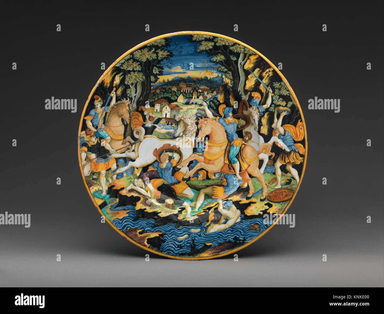 Dish with battle scene. Decorator: Painter of the Coal Mine Service (active mid-16th century); Artist: After an - Stock Image