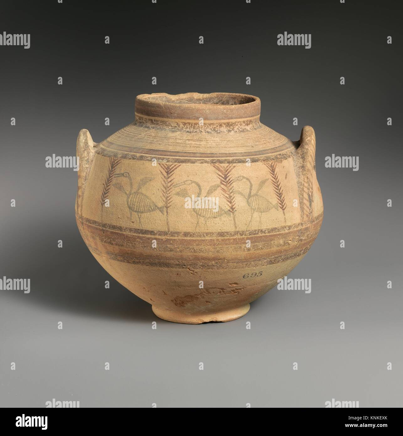 Krater. Period: Cypro-Archaic I; Date: 750-600 B.C; Culture: Cypriot; Medium: Terracotta; Dimensions: 8 7/8in. (22.6cm); Stock Photo