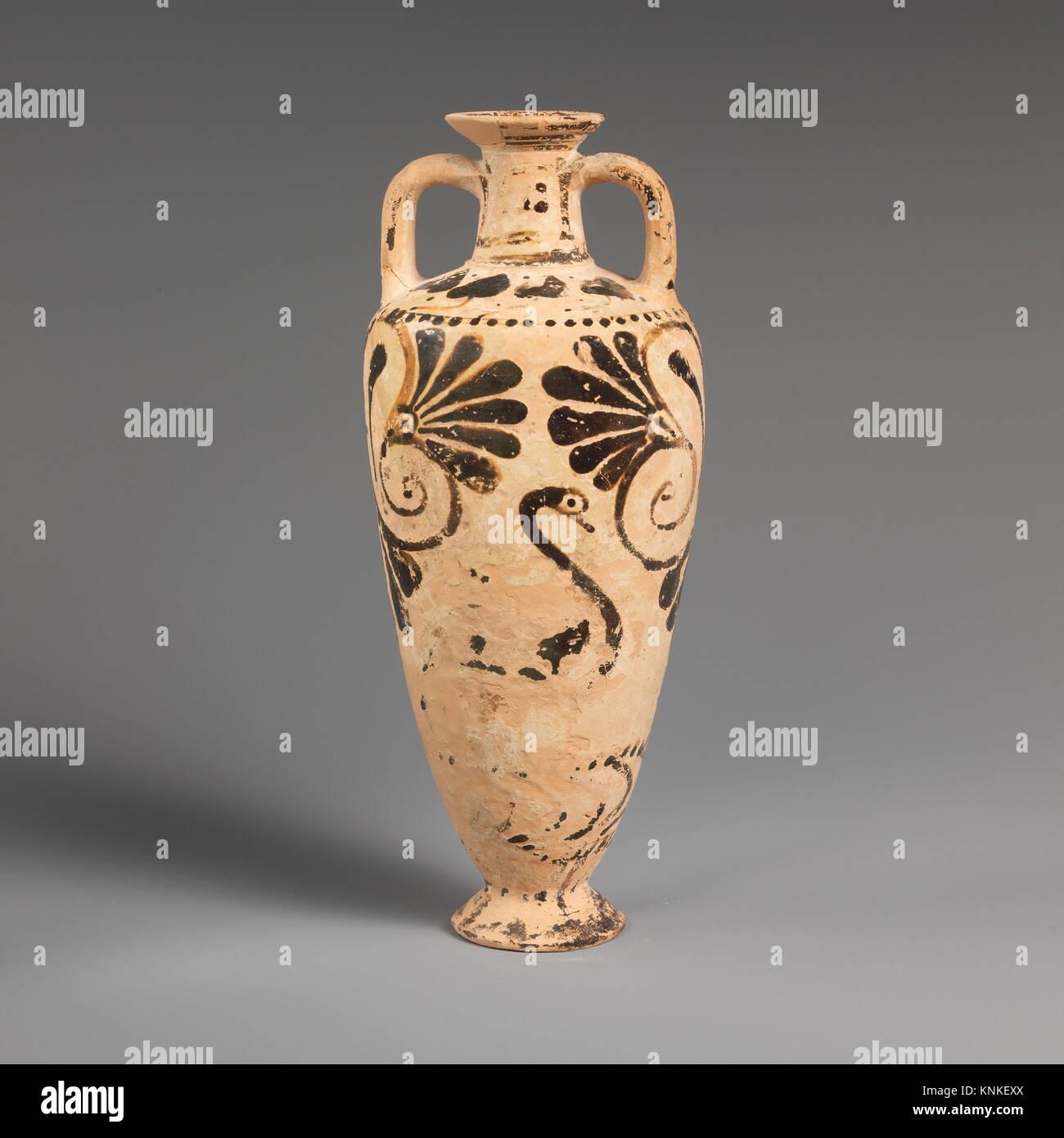 Terracotta amphoriskos (oil flask). Period: Archaic; Date: ca. 550-525 B.C; Culture: East Greek, Milesian, Fikellura; Stock Photo