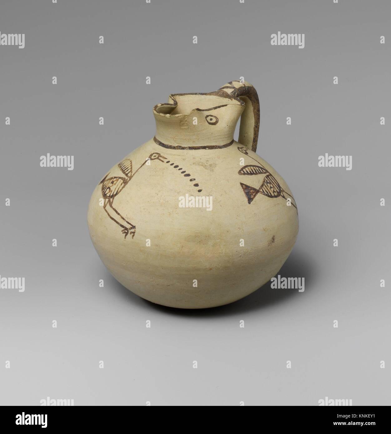 Terracotta jug. Period: Cypro-Archaic I; Date: 750-600 B.C; Culture: Cypriot; Medium: Terracotta; Dimensions: H. Stock Photo
