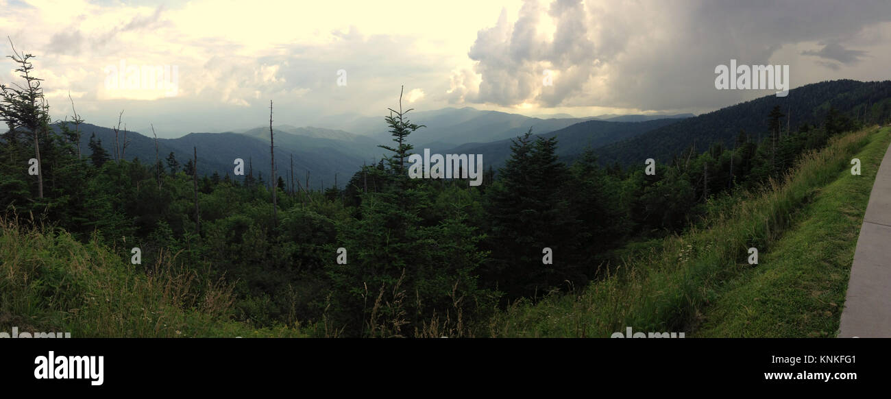 Panoramic view of the Smoky Mountains at Clingman's Dome - Stock Image