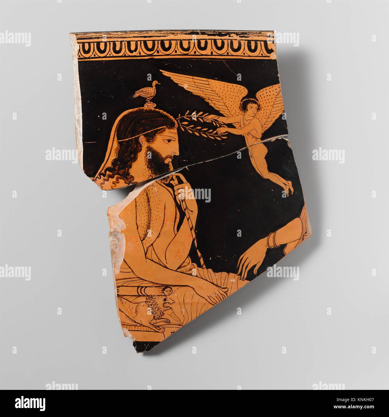 Fragment of a terracotta skyphos (deep drinking cup). Attributed to the Palermo Painter; Period: Classical; Date: - Stock Image