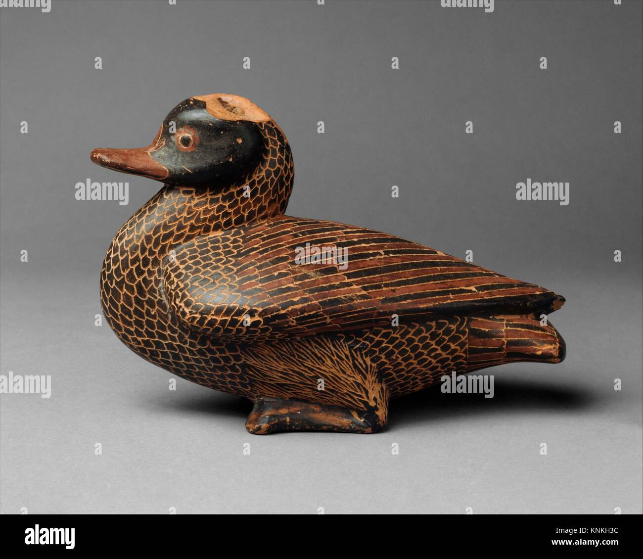 Terracotta vase in the form of a duck. Period: Archaic; Date: mid-6th century B.C; Culture: East Greek; Medium: - Stock Image