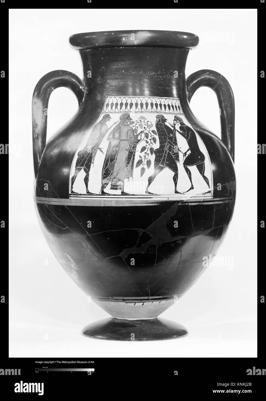 Terracotta amphora (jar). Attributed to the Affecter; Period: Archaic; Date: ca. 550-530 B.C; Culture: Greek, Attic; Stock Photo