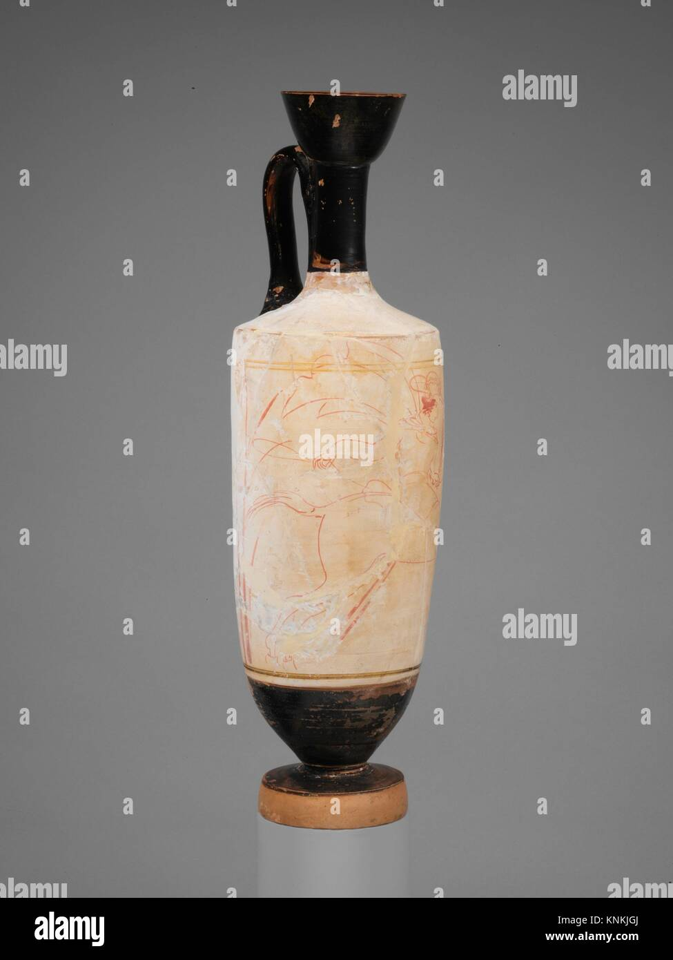 Terracotta lekythos (oil flask). Attributed to the Reed Painter; Period: Classical; Date: ca. 430-420 B.C; Culture: - Stock Image