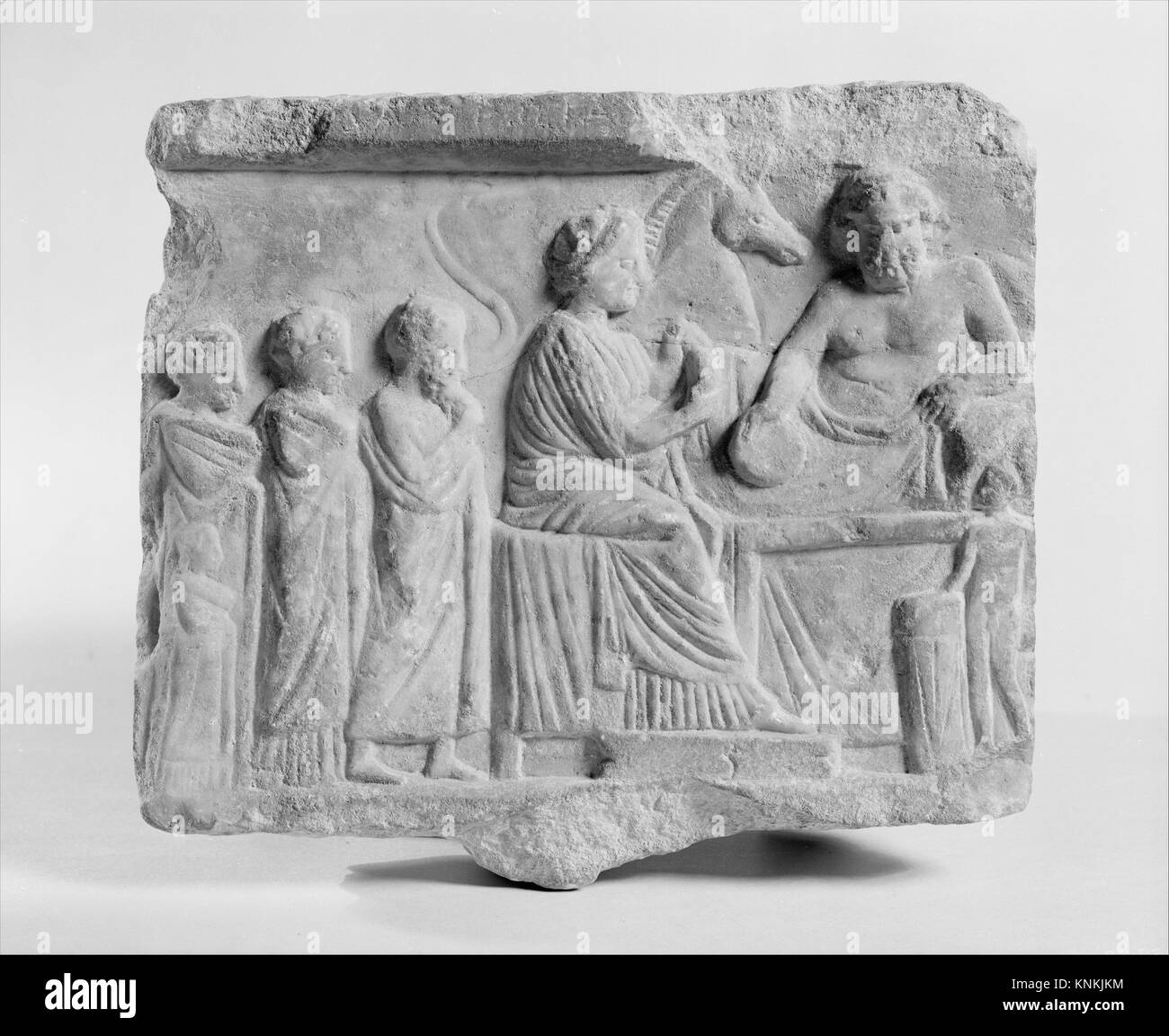 Marble votive relief dedicated to a hero. Period: Late Classical; Date: late 4th century B.C; Culture: Greek, Attic; - Stock Image