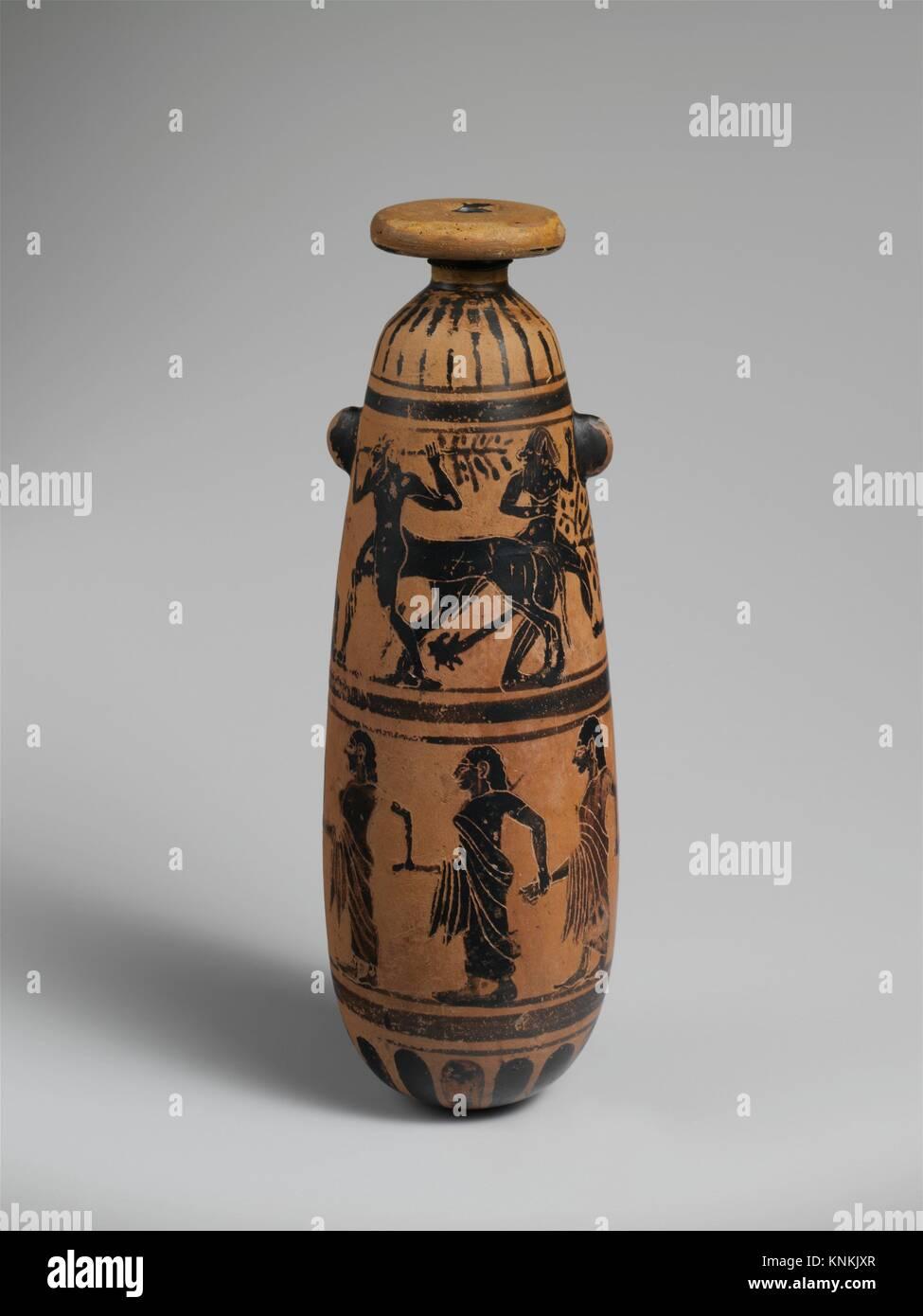 Terracotta alabastron (perfume vase). Period: Archaic; Date: 6th century B.C; Culture: Etruscan; Medium: Terracotta; - Stock Image