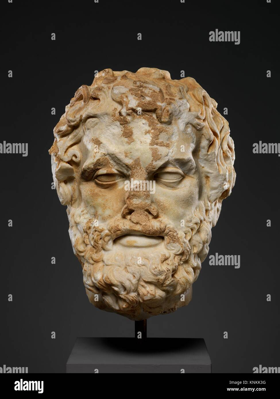 Marble head of a bearded man. Period: Imperial; Date: 2nd century A.D; Culture: Roman; Medium: Marble; Dimensions: - Stock Image