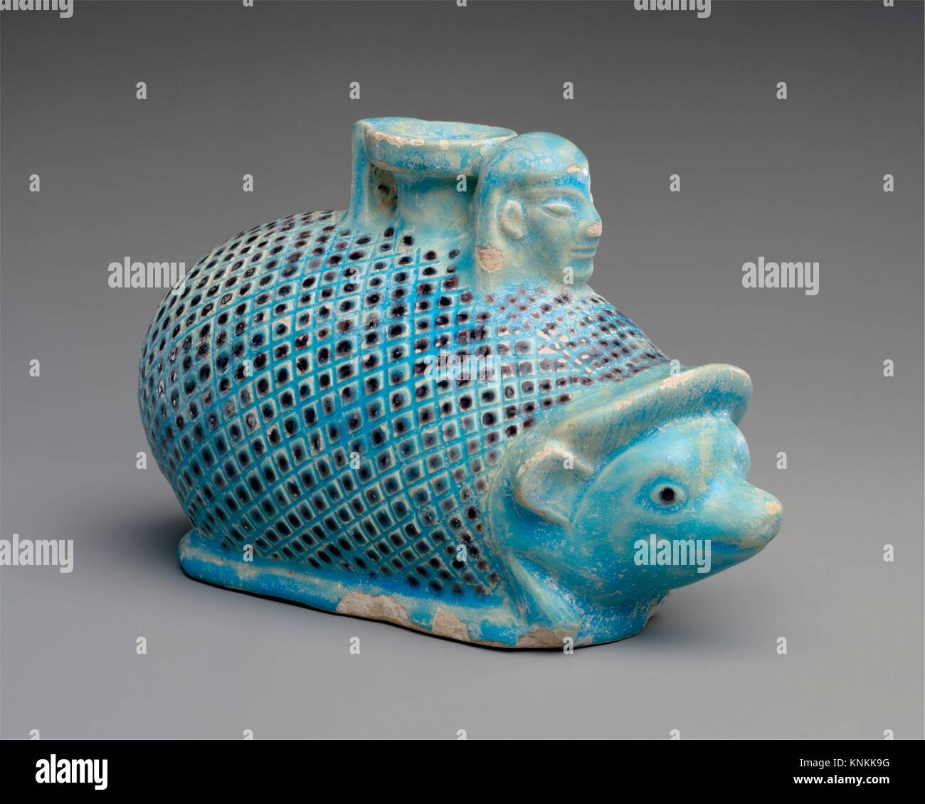 Faience aryballos (perfume vase) in the form of a hedgehog. Period: Archaic; Date: ca. 550-500 B.C; Culture: East - Stock Image