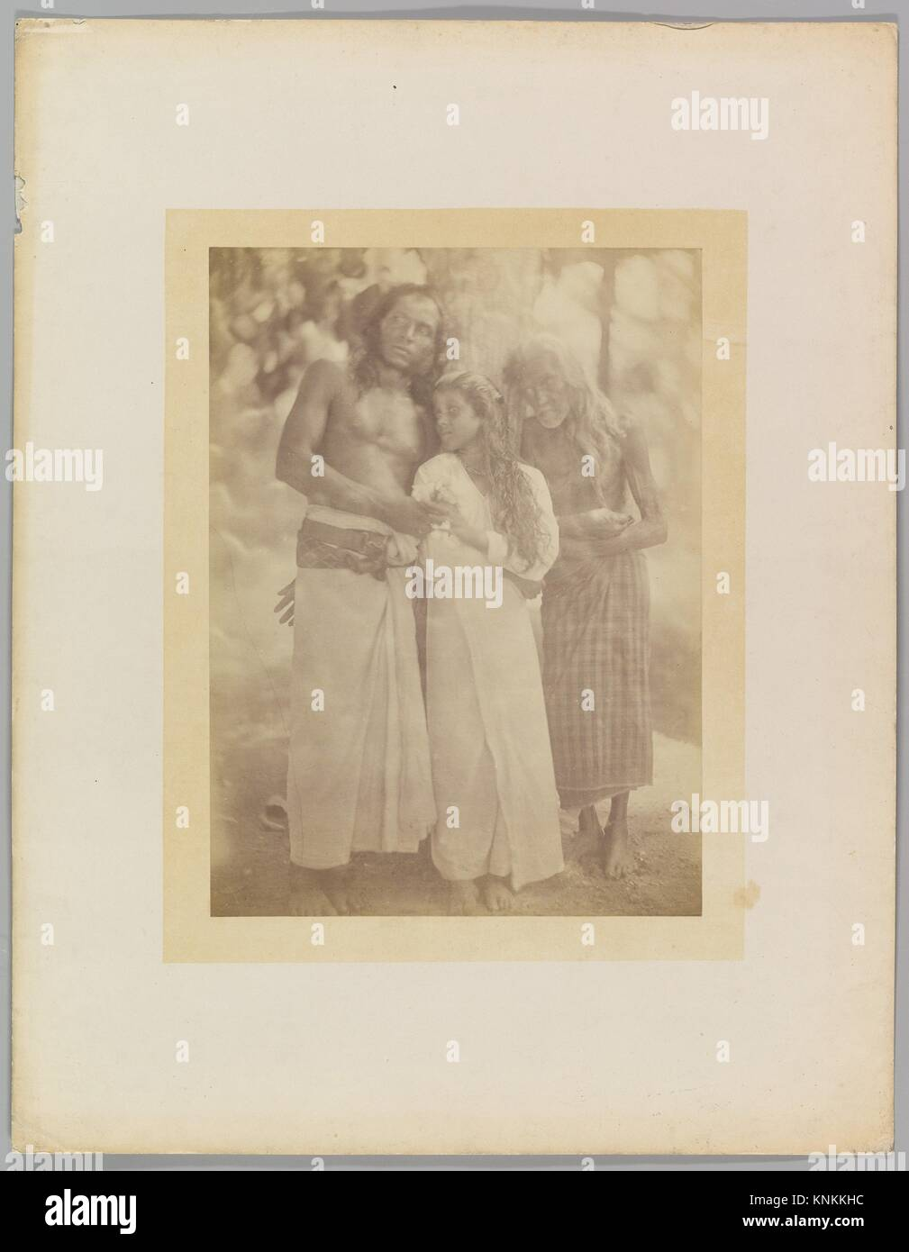 [Ceylonese Group by a Tree]. Artist: Julia Margaret Cameron (British (born India), Calcutta 1815-1879 Kalutara, Stock Photo