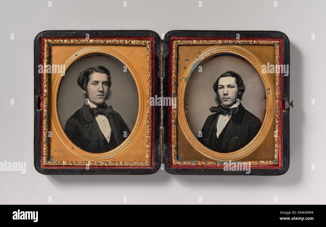 [Double Plate: Two Men with Sideburns]. Artist: Possibly by John Adams Whipple (American, 1822-1891); Date: 1850s; Stock Photo