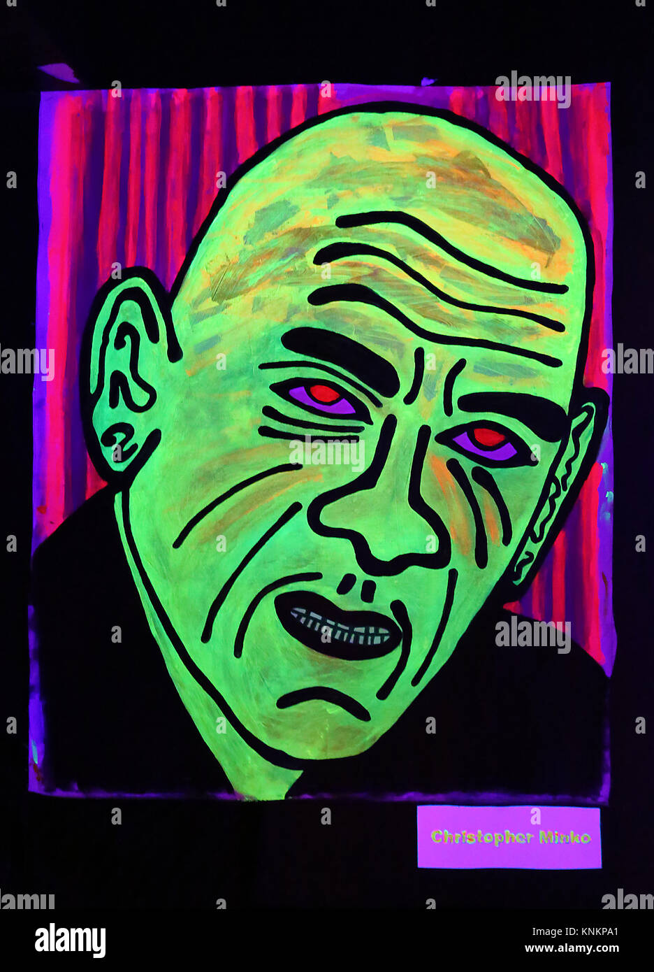 Bangkok Neon is an exhibition of noir nightlife characters by artist Chris Coles currently at Check Inn 99, Sukhumvit - Stock Image