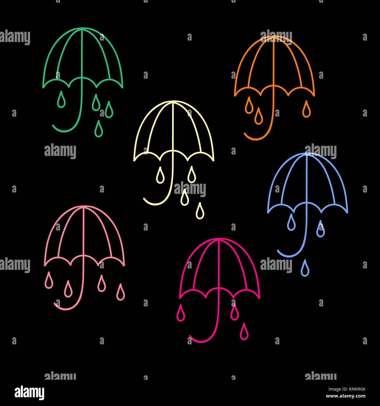 Umbrella and rain drops icons. Collection of 6 - Stock Vector