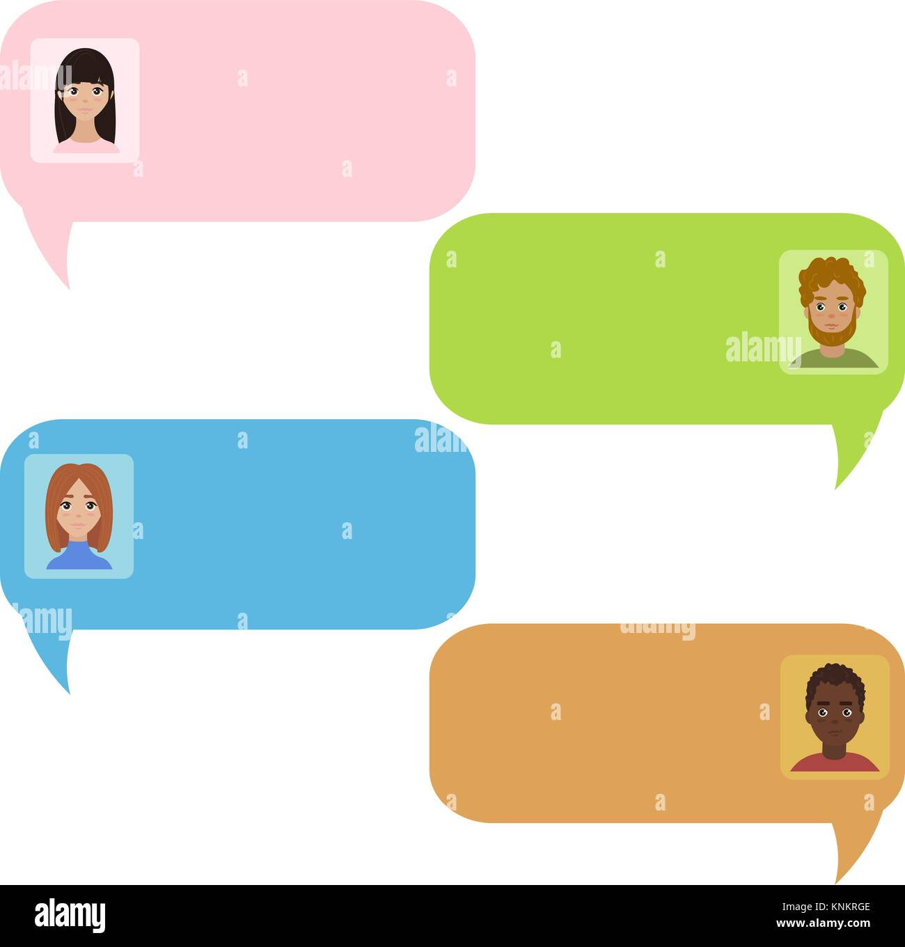 Chat bubbles. Chatbot and real people message - Stock Vector