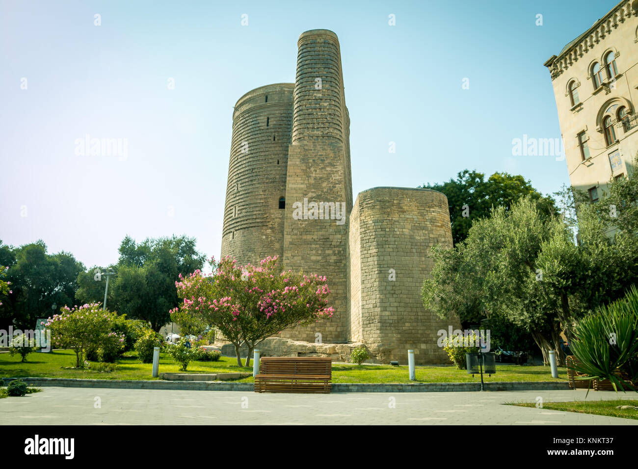 The Maiden Tower also known as Giz Galasi, located in the Old City in Baku, Azerbaijan. Maiden Tower was built in - Stock Image