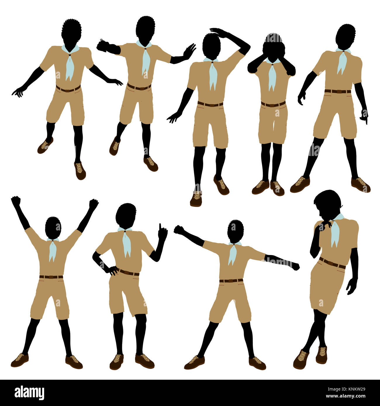 African American Boy Scout silhouette on a white background - Stock Image