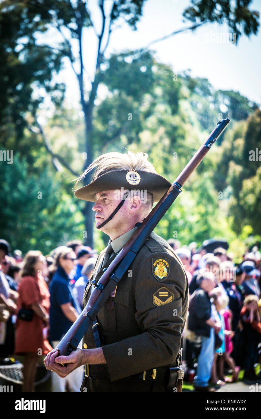 The honor guard of Victoria Police on the remembrance day ceremony. - Stock Image