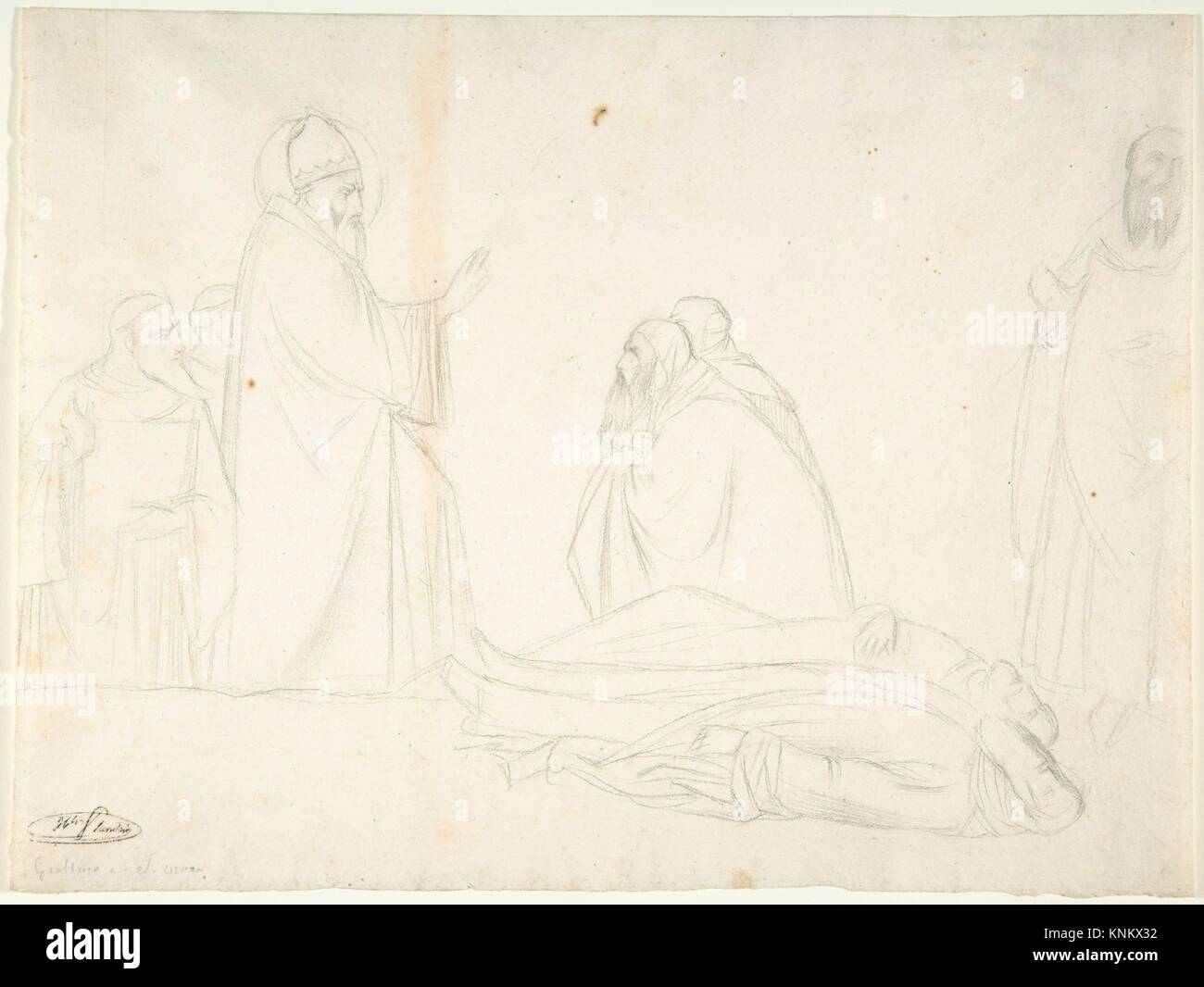 Miracle of St. Sylvester; the Raising of Two Pagan Priests, after Maso di Banco, S. Croce, Florence. Draftsman: - Stock Image