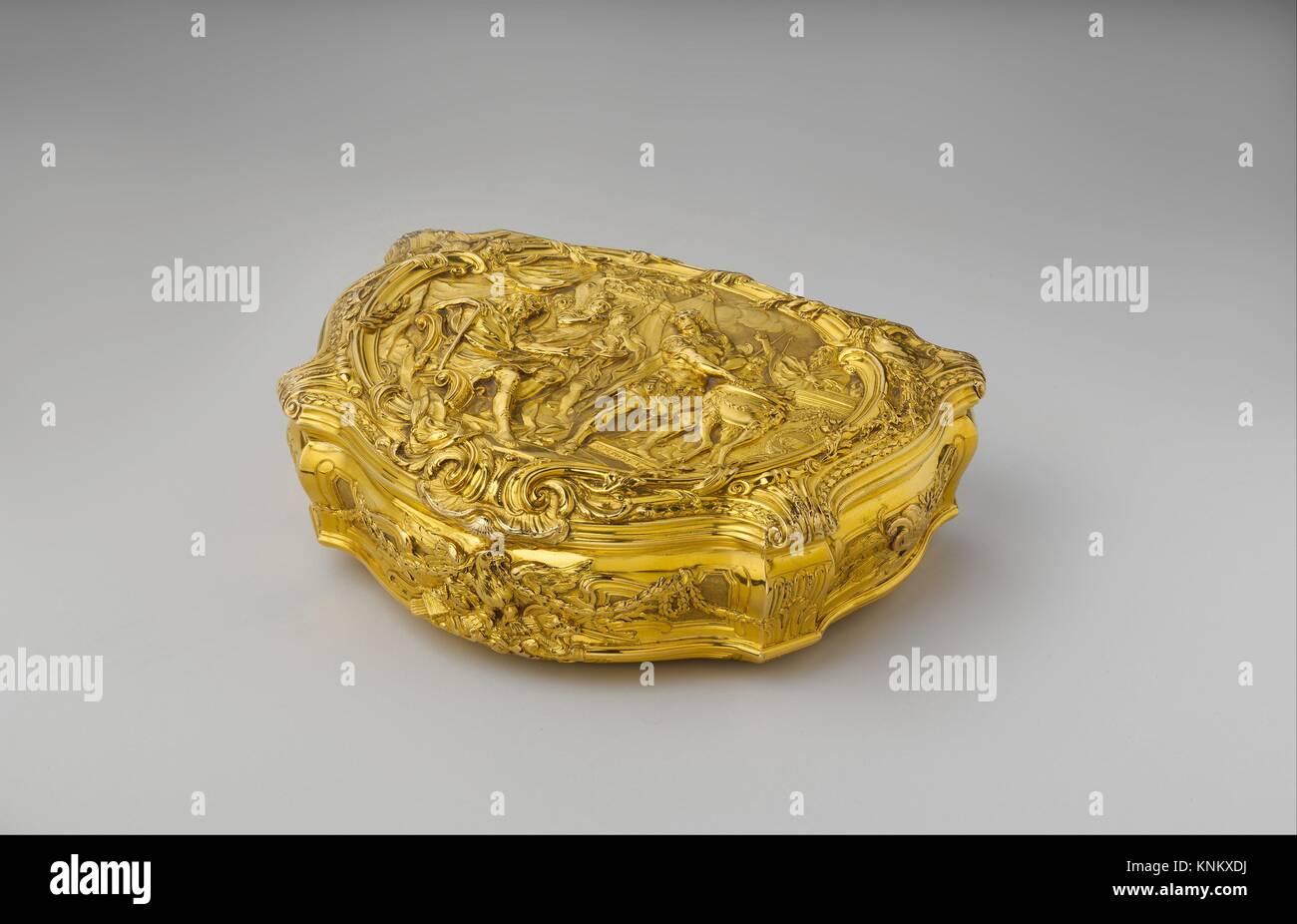 Box with scene depicting Roman hero Gaius Mucius Scaevola before the Etruscan king Lars Porsena. Goldsmith: P R - Stock Image