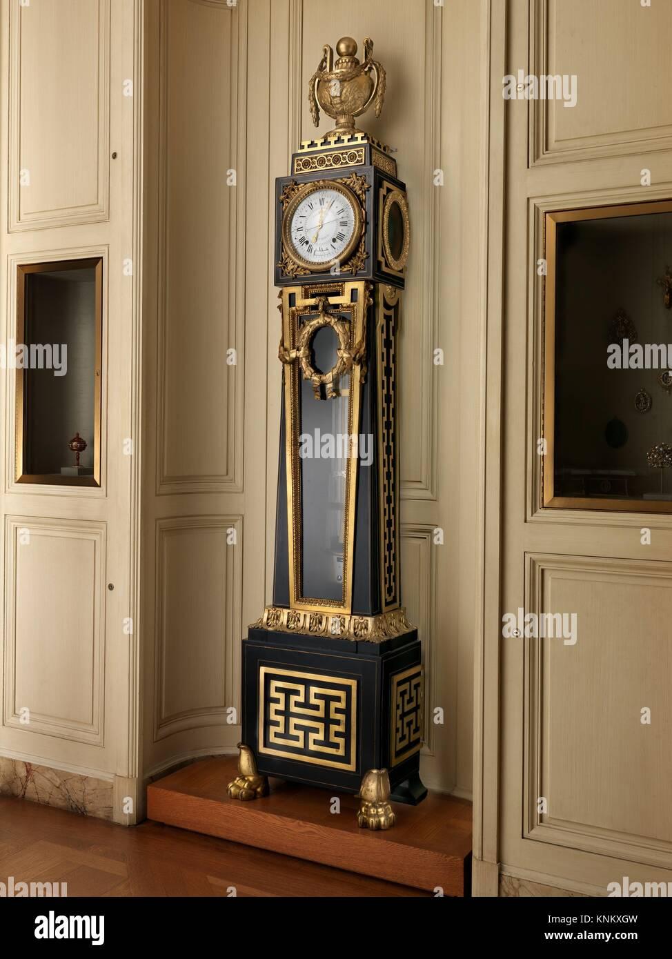 Longcase astronomical regulator. Maker: Clockmaker: Ferdinand Berthoud (French, 1727-1807); Maker: Case maker: Balthazar - Stock Image
