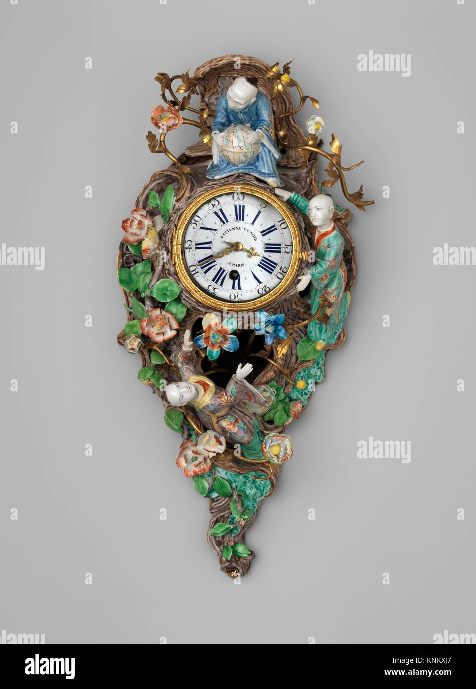 Wall clock (cartel). Maker: Clockmaker: Étienne LeNoir (French, 1675-1739); Manufactory: Case by Chantilly - Stock Image