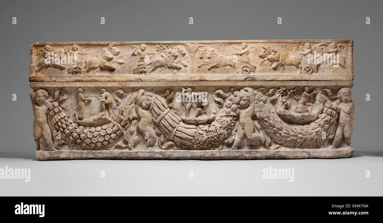 Marble sarcophagus with garlands and the myth of Theseus and Ariadne. Period: Hadrianic or early Antonine; Date: - Stock Image