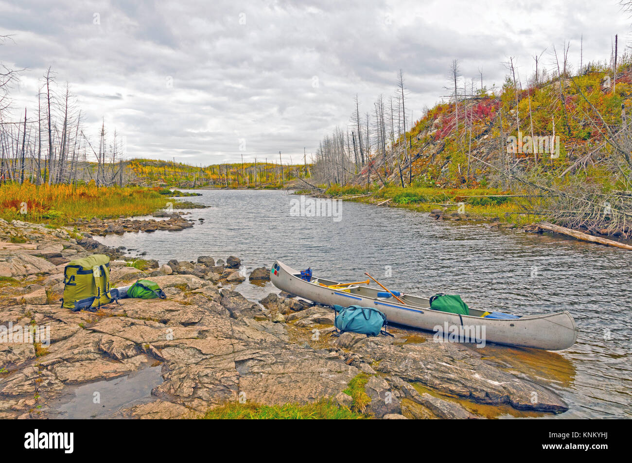 Portage onto Jasper Lake in the Boundary Waters in the Fall - Stock Image