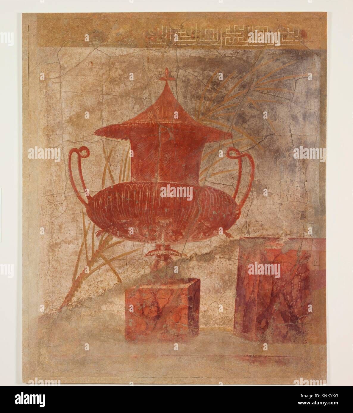 Wall painting fragment from the peristyle of the Villa of P. Fannius Synistor at Boscoreale. Period: Late Republican; - Stock Image