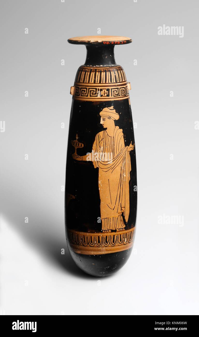 Terracotta alabastron (perfume vase). Attributed to the Persephone Painter; Period: Classical; Date: ca. 440 B.C; - Stock Image