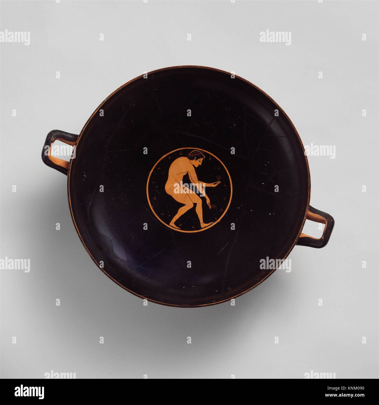 Terracotta kylix (drinking cup). Attributed to the Euergides Painter; Period: Archaic; Date: ca. 510 B.C; Culture: - Stock Image